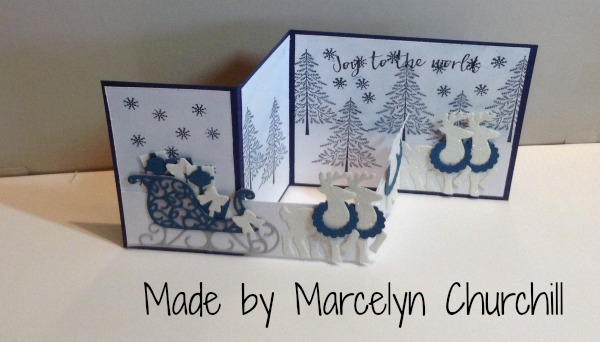 stampin up santas sleigh christmas card made by marcelyn churchill please see more card and
